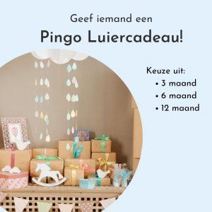 Pingo Luiercadeau. Leuk om als kraamcadeau aan nieuwe ouders te geven. Keuze uit 3, 6 of 12 maanden. Wij verzorgen elke maand een verzending van een luierbox naar wens.